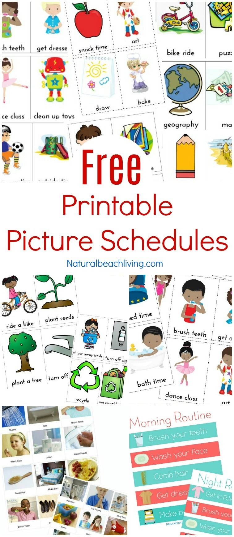 Free Printable Picture Schedule Cards - Visual Schedule Printables - Free Printable Daily Routine Picture Cards