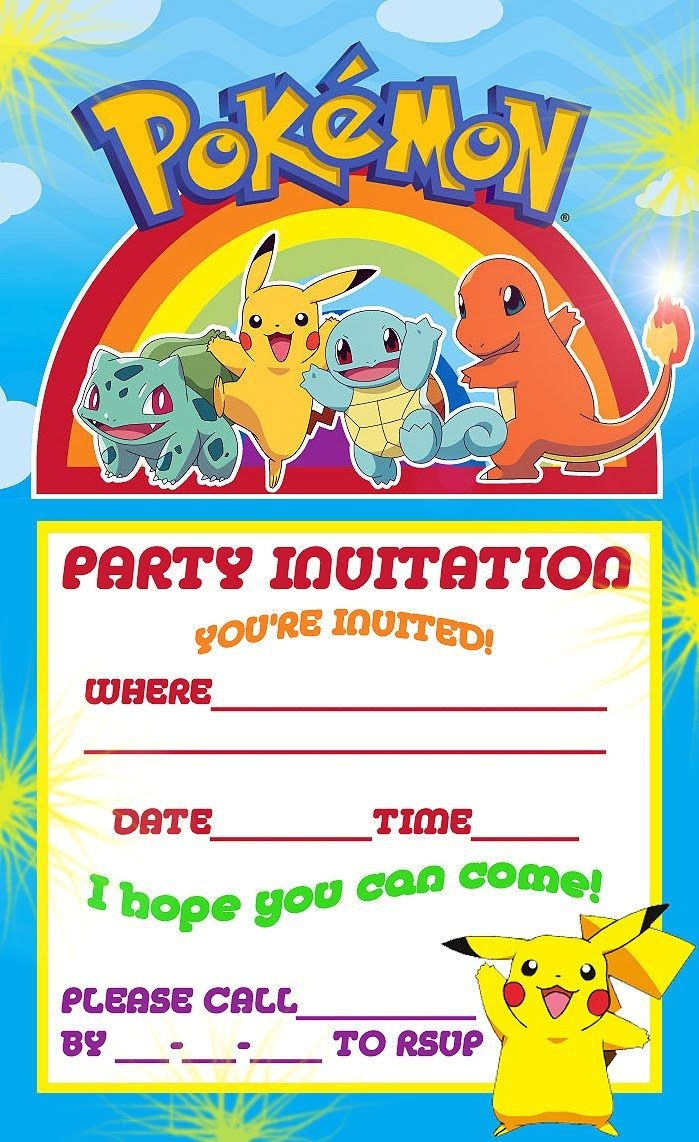 Free Printable Pokemon Birthday Party Invitations | Party Ideas - Pokemon Invitations Printable Free