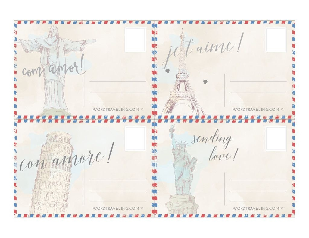 Free Printable Postcards From Around The World - Word Traveling - Free Printable Postcards