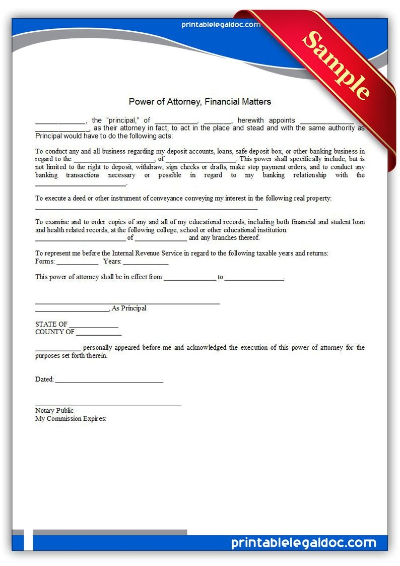 Free Printable Power Of Attorney, Financial Matters Legal Forms - Free Printable Power Of Attorney Forms Online