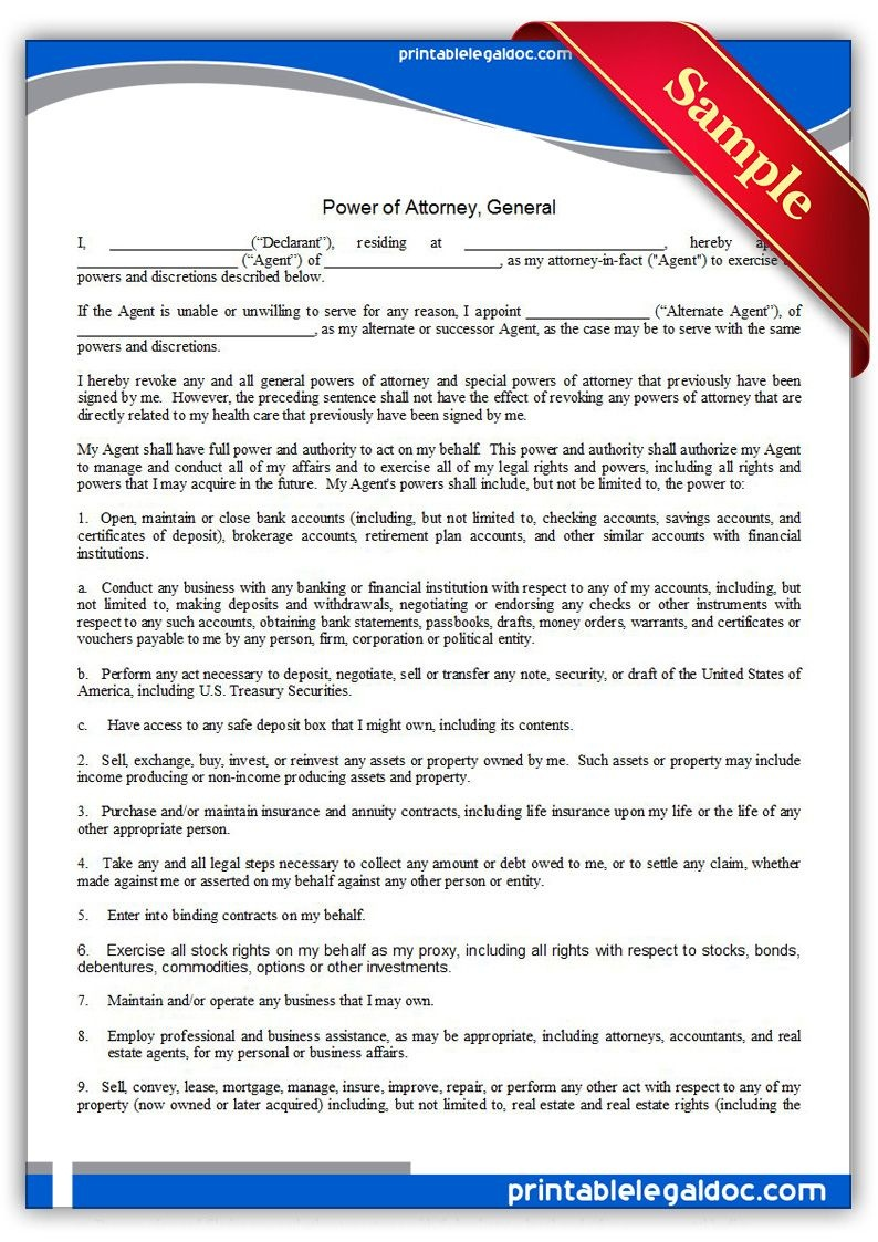 Free Printable Power Of Attorney, General Legal Forms | Free Legal - Free Printable Power Of Attorney Form Washington State