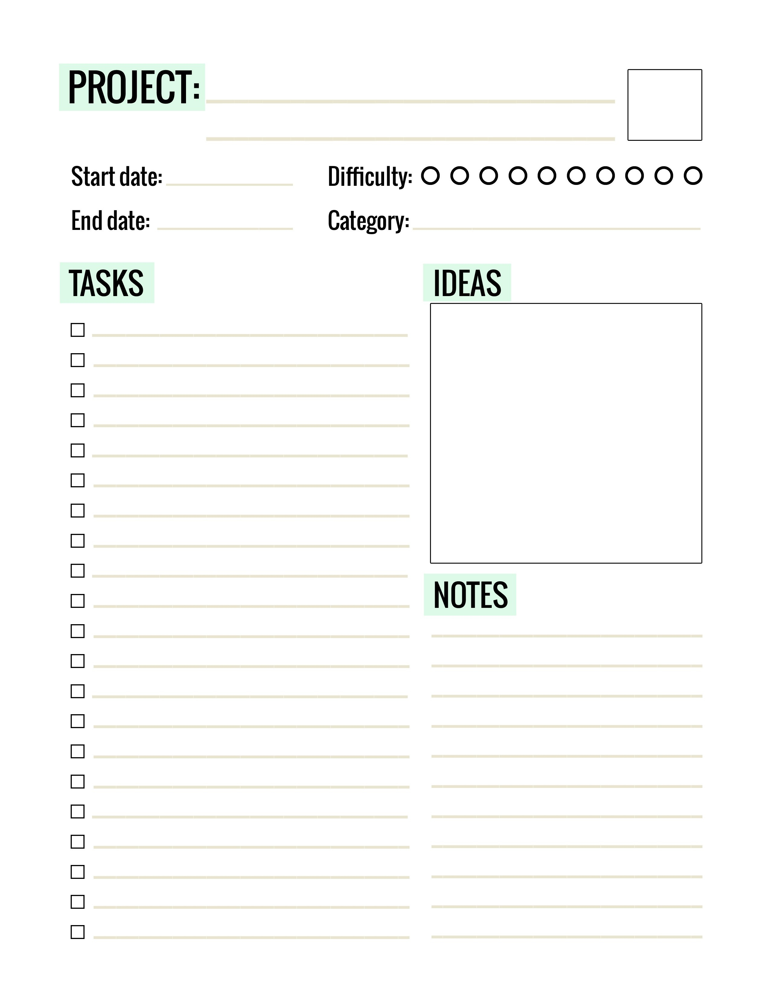 Free Printable Project Planner Page - Paper And Landscapes - Free Printable Home Organizer Notebook