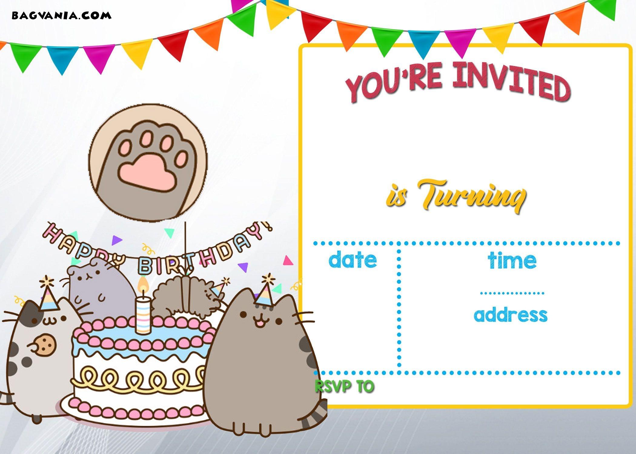 Free Printable Pusheen Birthday Invitation | Free Printable - Free Printable Kitten Birthday Invitations