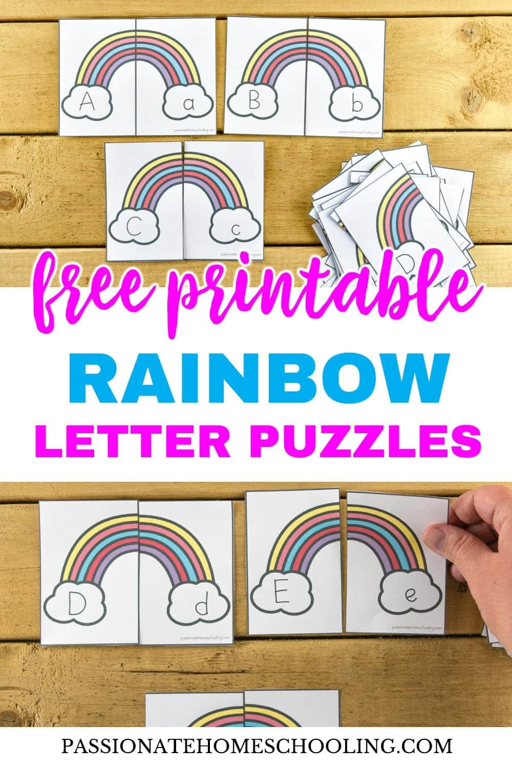 Free Printable Rainbow Upper And Lowercase Letter Matching Puzzles - Free Printable Rainbow Letters