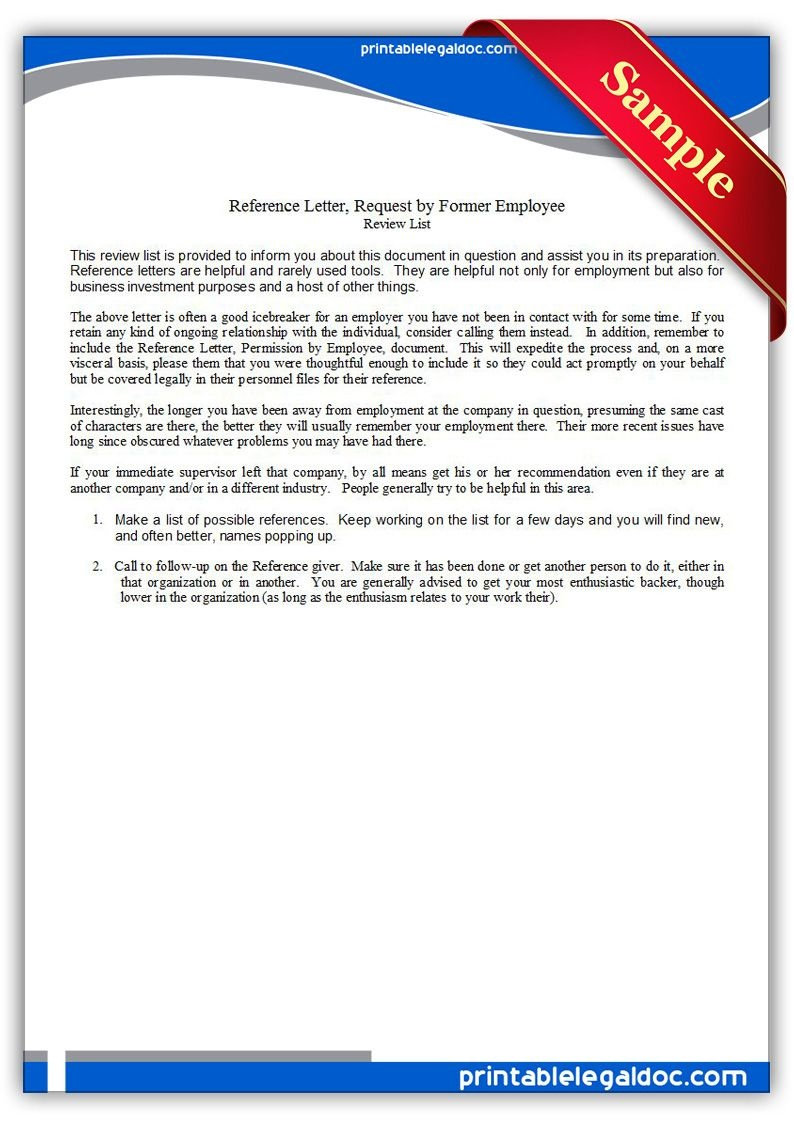 Free Printable Reference Letter, Requestedemployee Legal Forms - Find Free Printable Forms Online