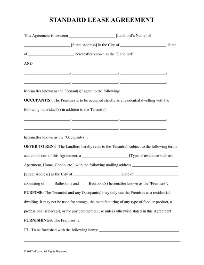 Free Printable Rental Lease Agreement - Kaza.psstech.co - Free Printable Rental Agreement