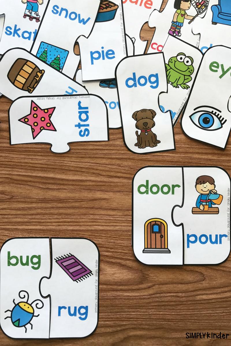 Free Printable Rhyming Puzzles | Work Things | Rhyming Preschool - Free Printable Rhyming Activities For Kindergarten