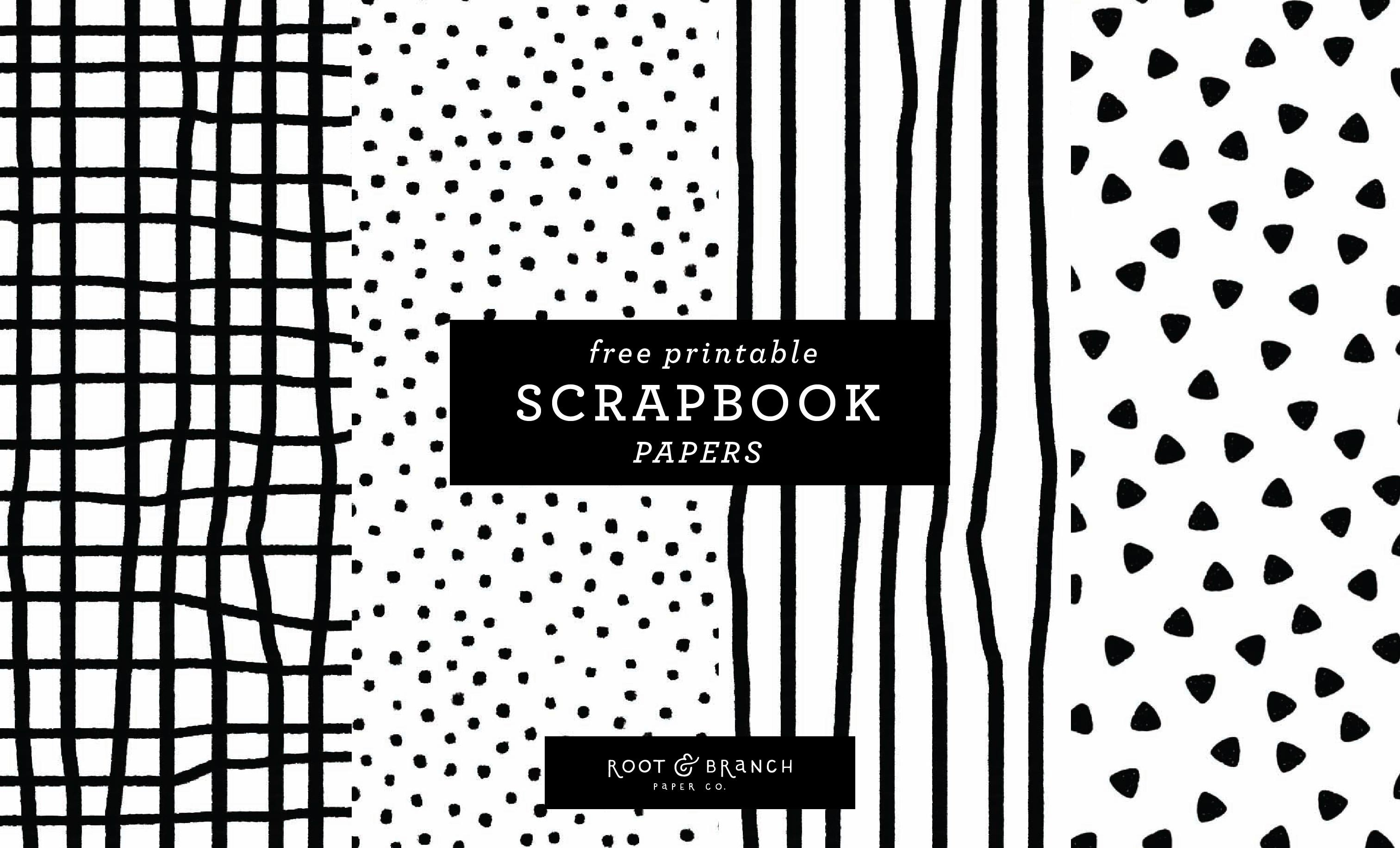 Free Printable Scrapbook Papers: Black And White Prints — Root - Free Printable Paper