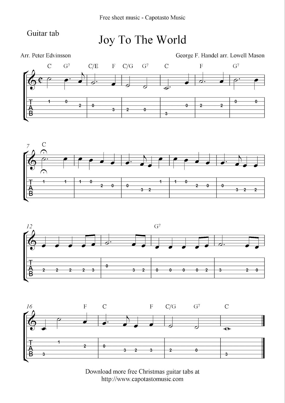 Free Printable Sheet Music: Joy To The World, Free Christmas Guitar - Free Printable Guitar Music
