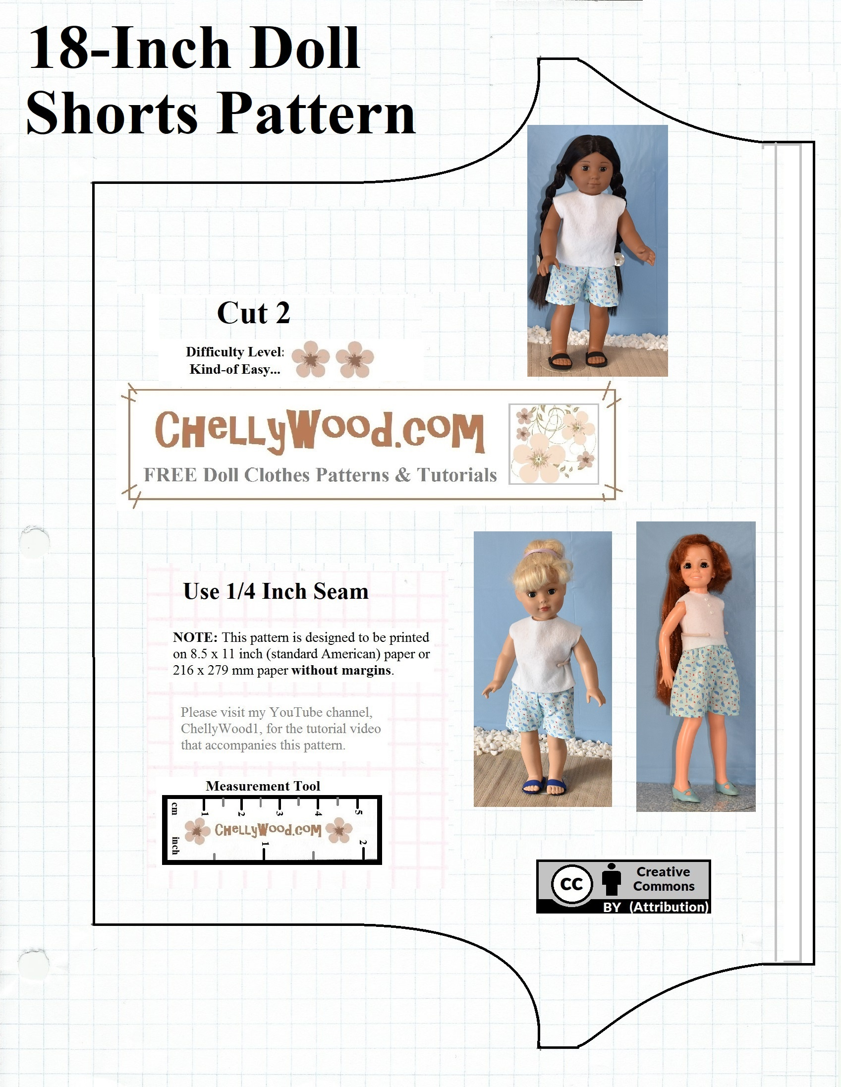 Free Printable Shorts #patterns For #americangirl And Other 18-Inch - American Girl Clothes Patterns Free Printable