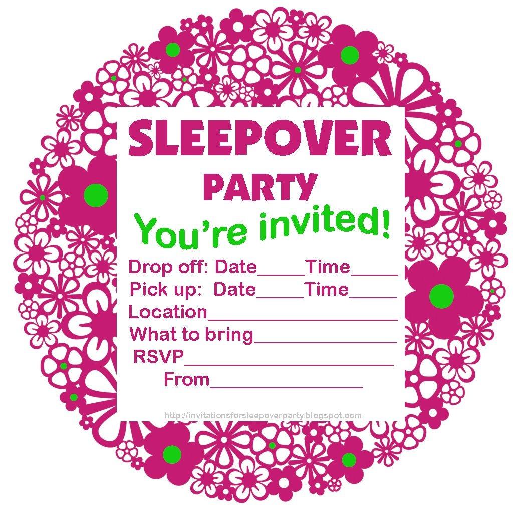 Free Printable Sleepover Party Invitations - Hundreds Of Slumber - 13Th Birthday Party Invitations Printable Free
