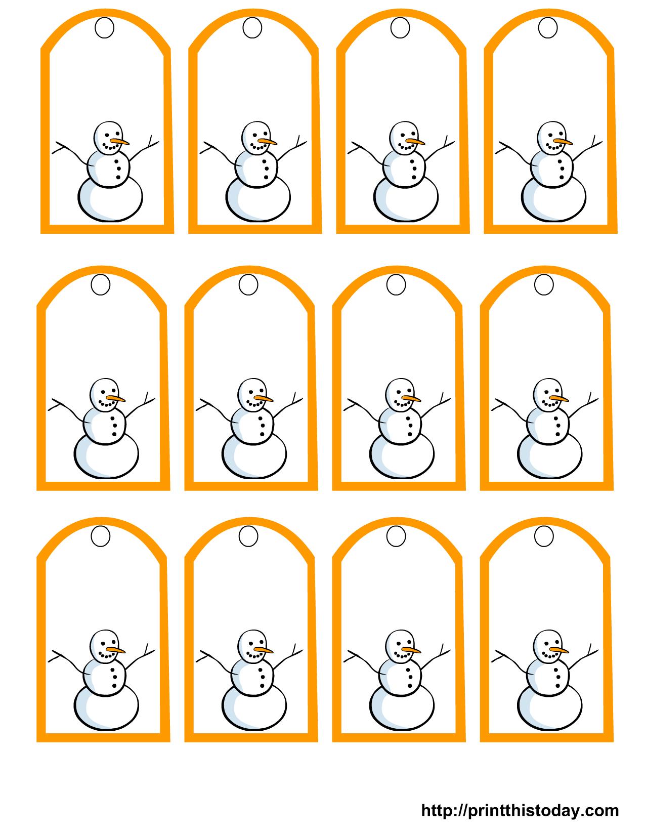 Free Printable Snowman Christmas Gift Tags - Free Printable Holiday Gift Labels