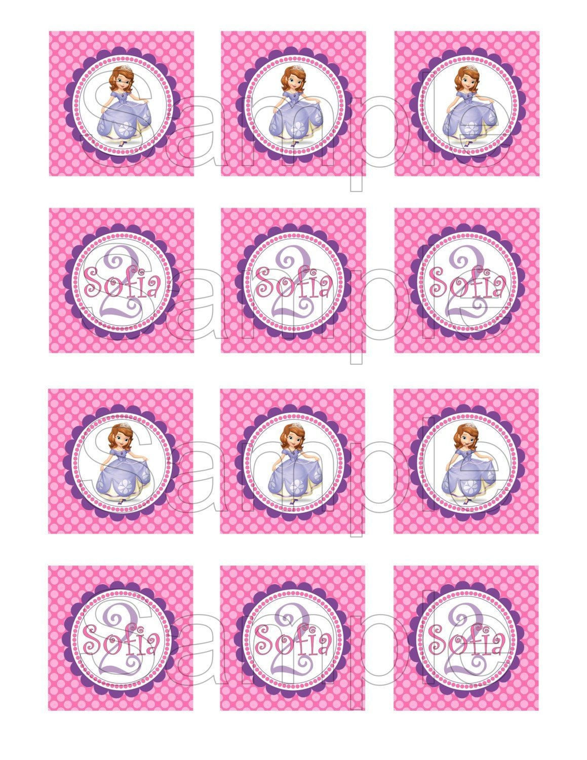 Free Printable Sofia The First Birthday Invitations. Printable - Free Printable Sofia Cupcake Toppers