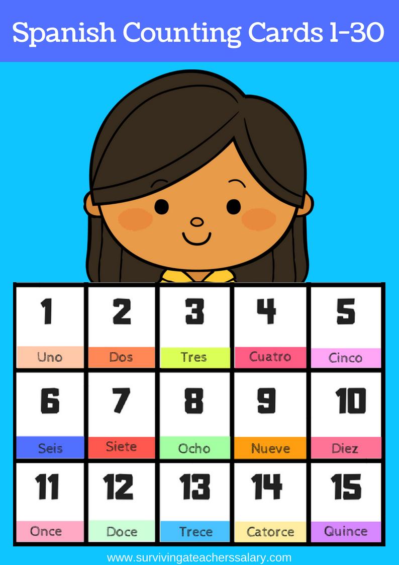 Free Printable Spanish Flashcards Numbers 1-30 - Free Printable Spanish Numbers