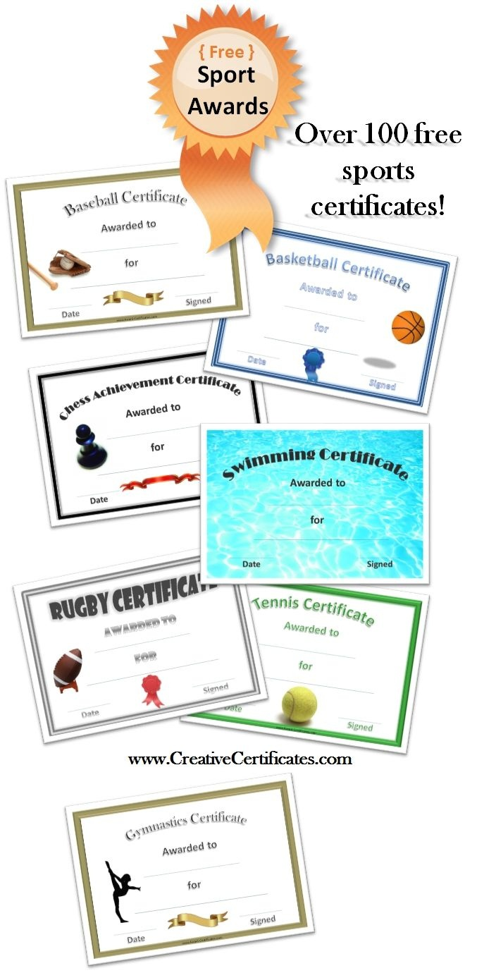 Free Printable Sport Certificates - Over 100 Available - All Free - Free Printable Softball Award Certificates