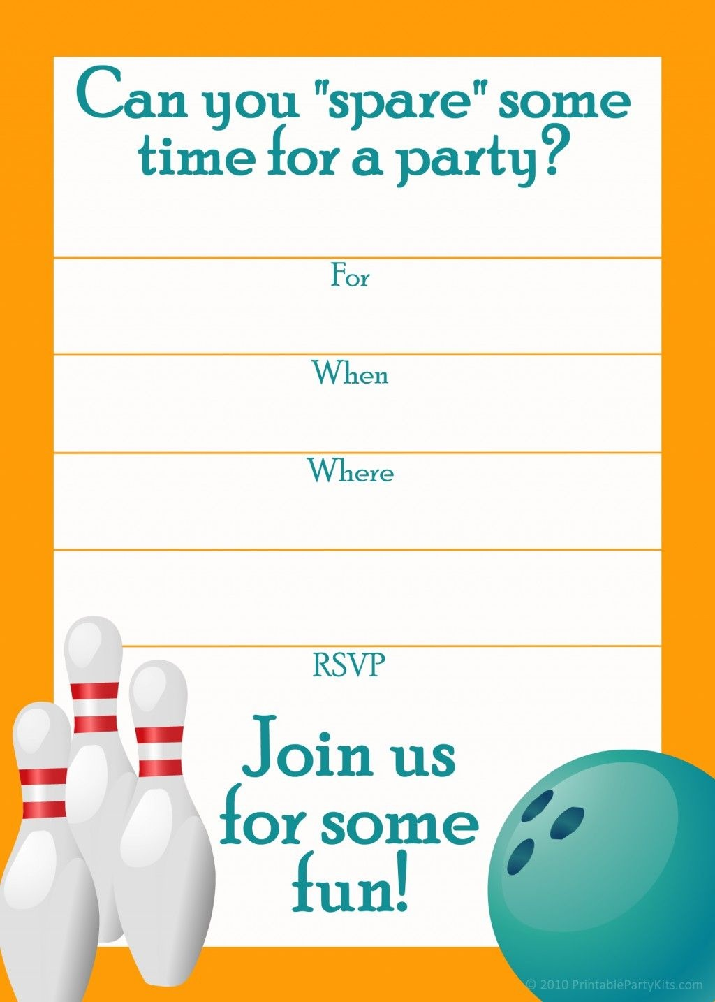 Free Printable Sports Birthday Party Invitations Templates | Dakota - Free Printable Bowling Invitation Templates