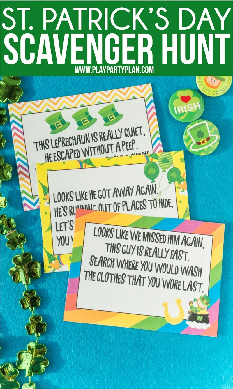 Free Printable St. Patrick's Day Scavenger Hunt Riddles - Play Party - Free Printable Treasure Hunt Games