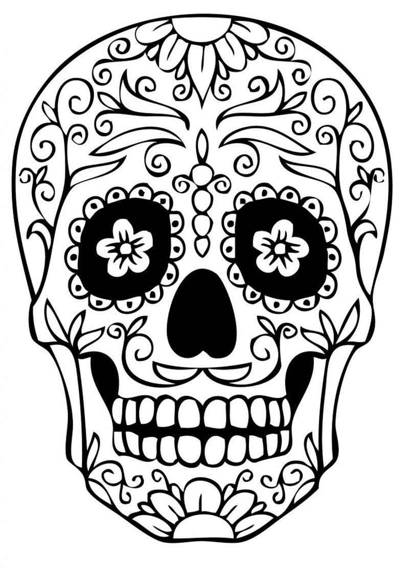 Free Printable Sugar Skull Coloring Pages - Printable Coloring Sheets - Free Printable Sugar Skull Coloring Pages