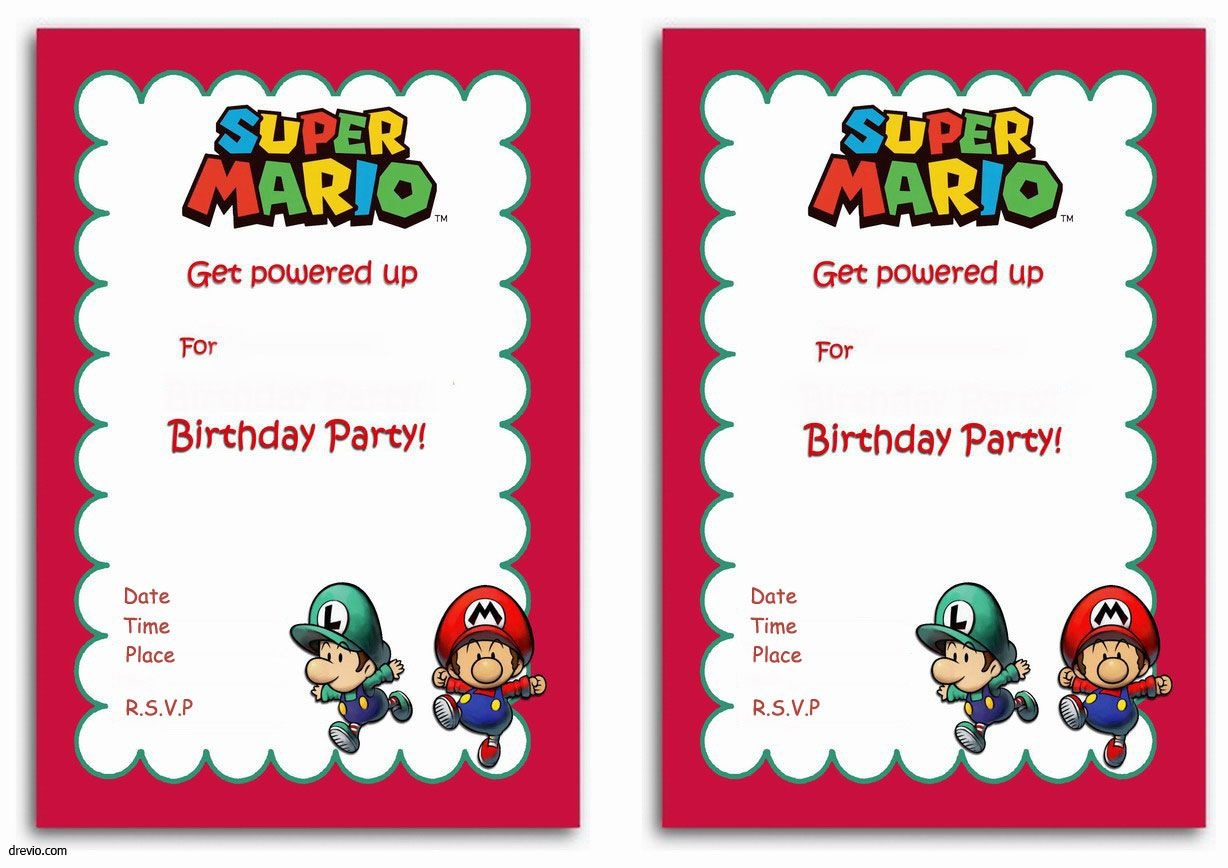 Free Printable Super Mario Bros Invitation Template | Mario Bros - Free Printable Super Mario Bros Invitations