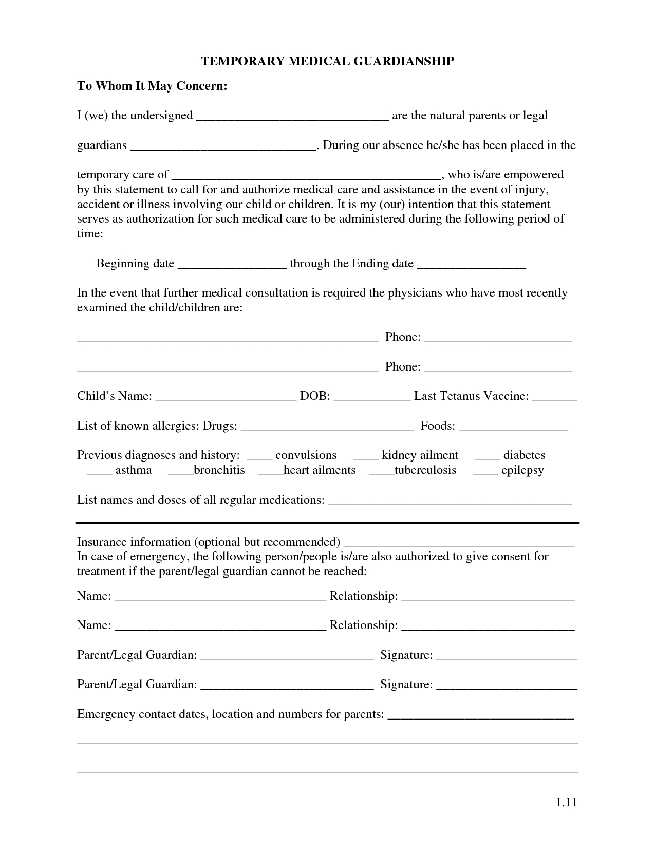 Free Printable Temporary Guardianship Forms | Forms | Child Custody - Free Printable Legal Documents Forms
