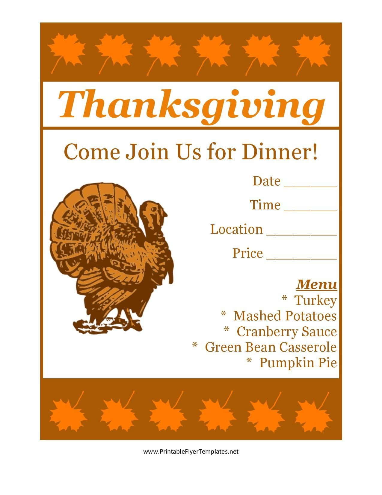 Free Printable Thanksgiving Flyer Invintation Template | Holiday's - Create Free Printable Flyer