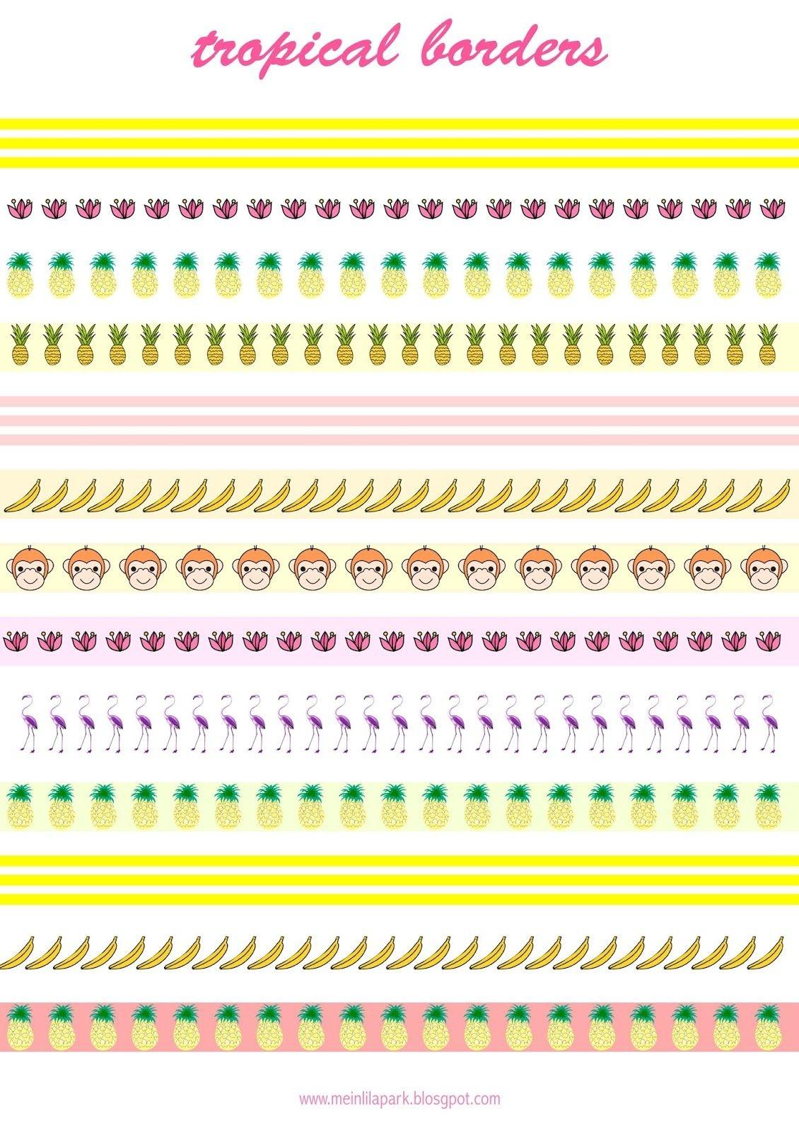 Free Printable Tropical Borders - Planner Stickers - Freebie - Free Printable Summer Borders