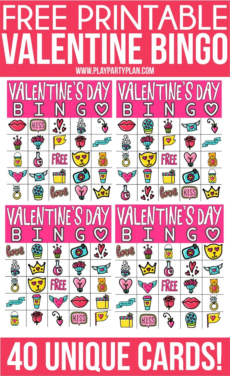 Free Printable Valentine Bingo Cards For All Ages - Play Party Plan - Free Printable Bingo Cards For Large Groups