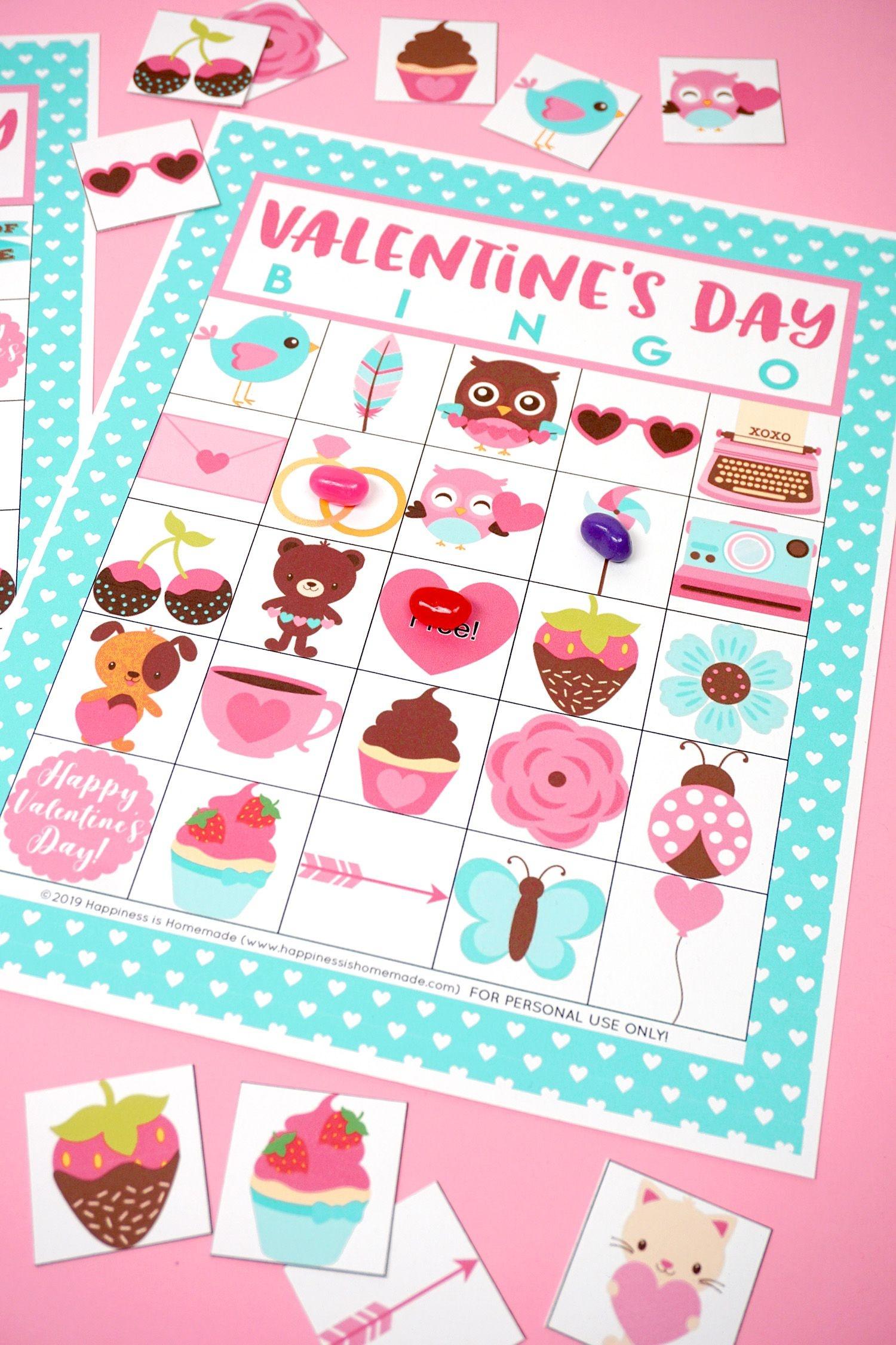 Free Printable Valentine Bingo - Happiness Is Homemade | Valentine's - Free Printable Valentines Bingo