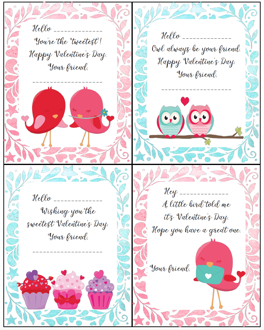 Free Printable Valentine's Day Cards For Kids - Free Printable Childrens Valentines Day Cards