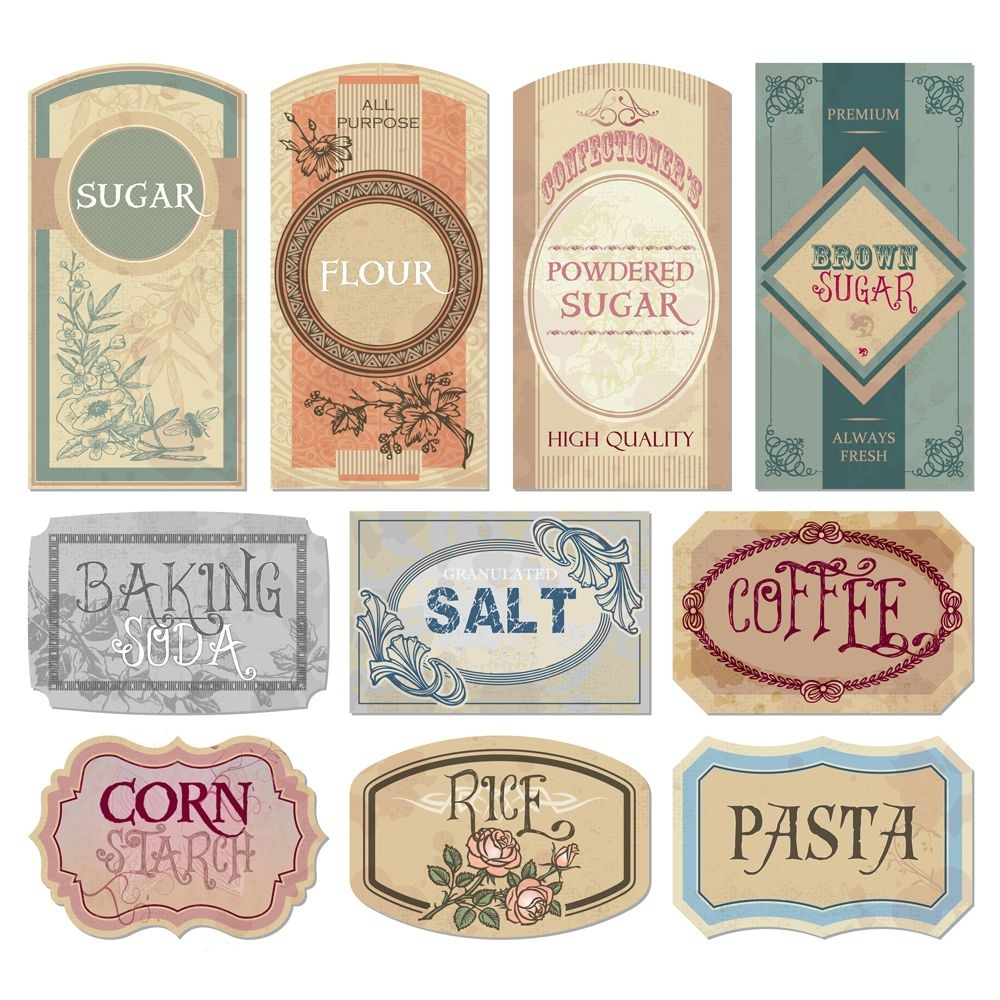 Free Printable Vintage Labels For Jars And Canisters To Organize - Free Printable Vintage Labels