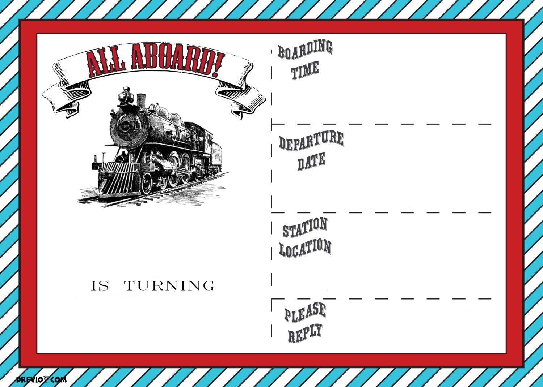 Free Printable Vintage Train Ticket Invitation   Free Printable - Free Printable Ticket Invitations