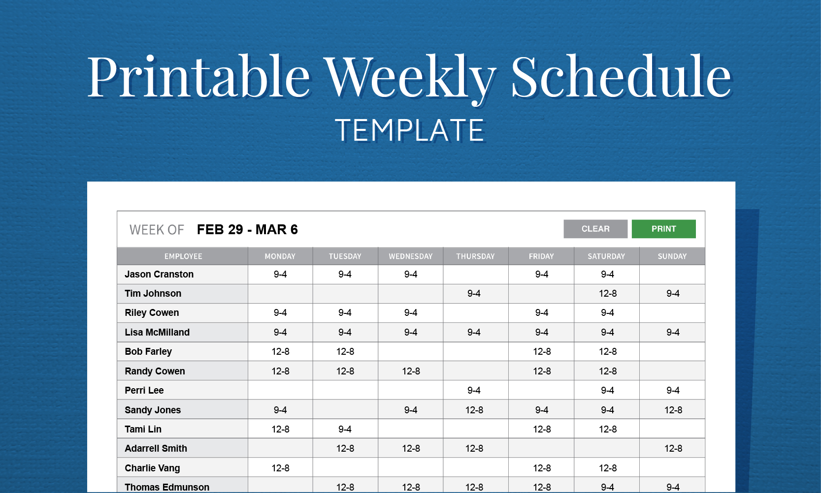Free Printable Weekly Work Schedule Template For Employee Scheduling - Free Printable Weekly Work Schedule