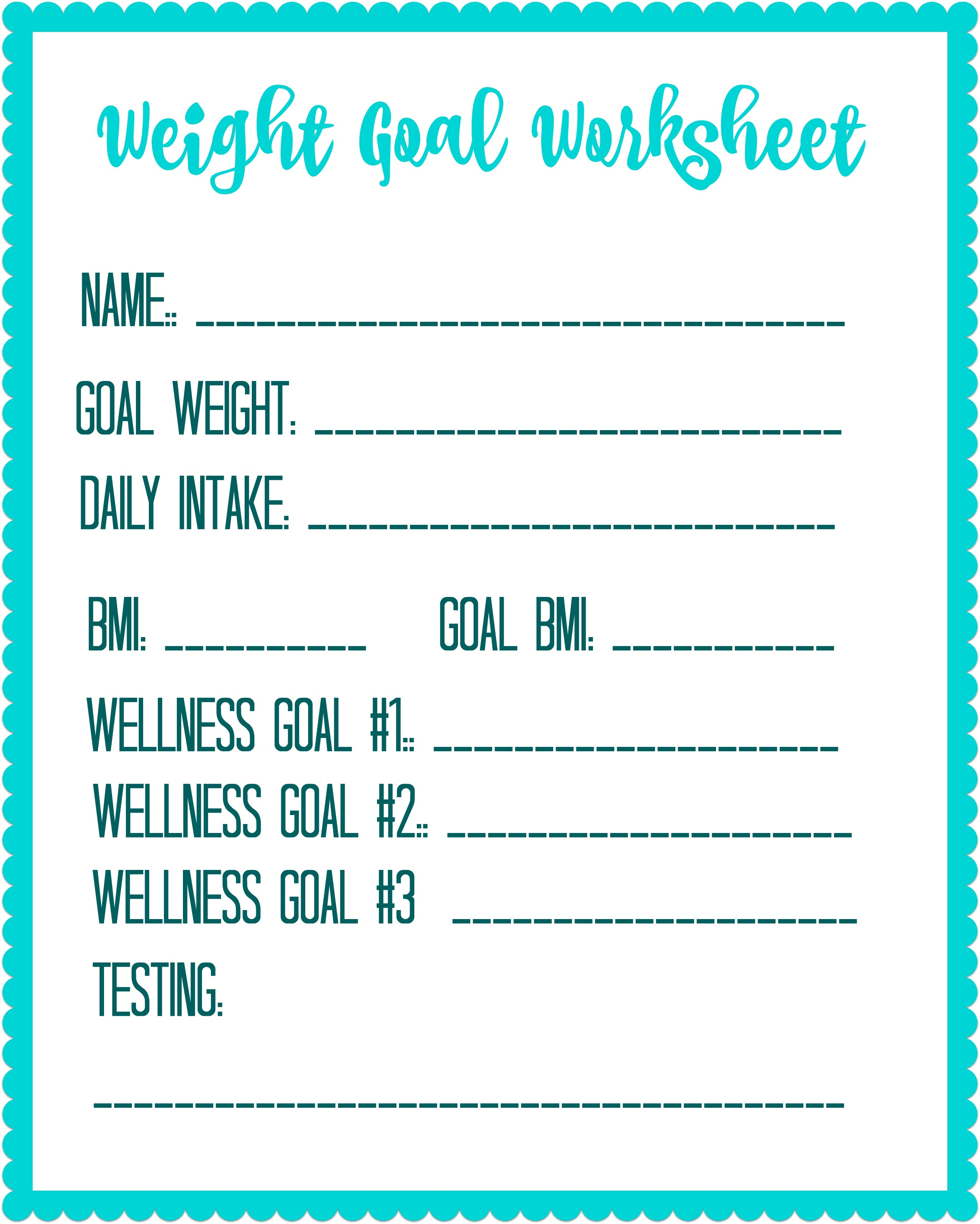 Free Printable Weight Loss Goal Worksheet - Debt Free Spending - Free Printable Calorie Counter Sheet