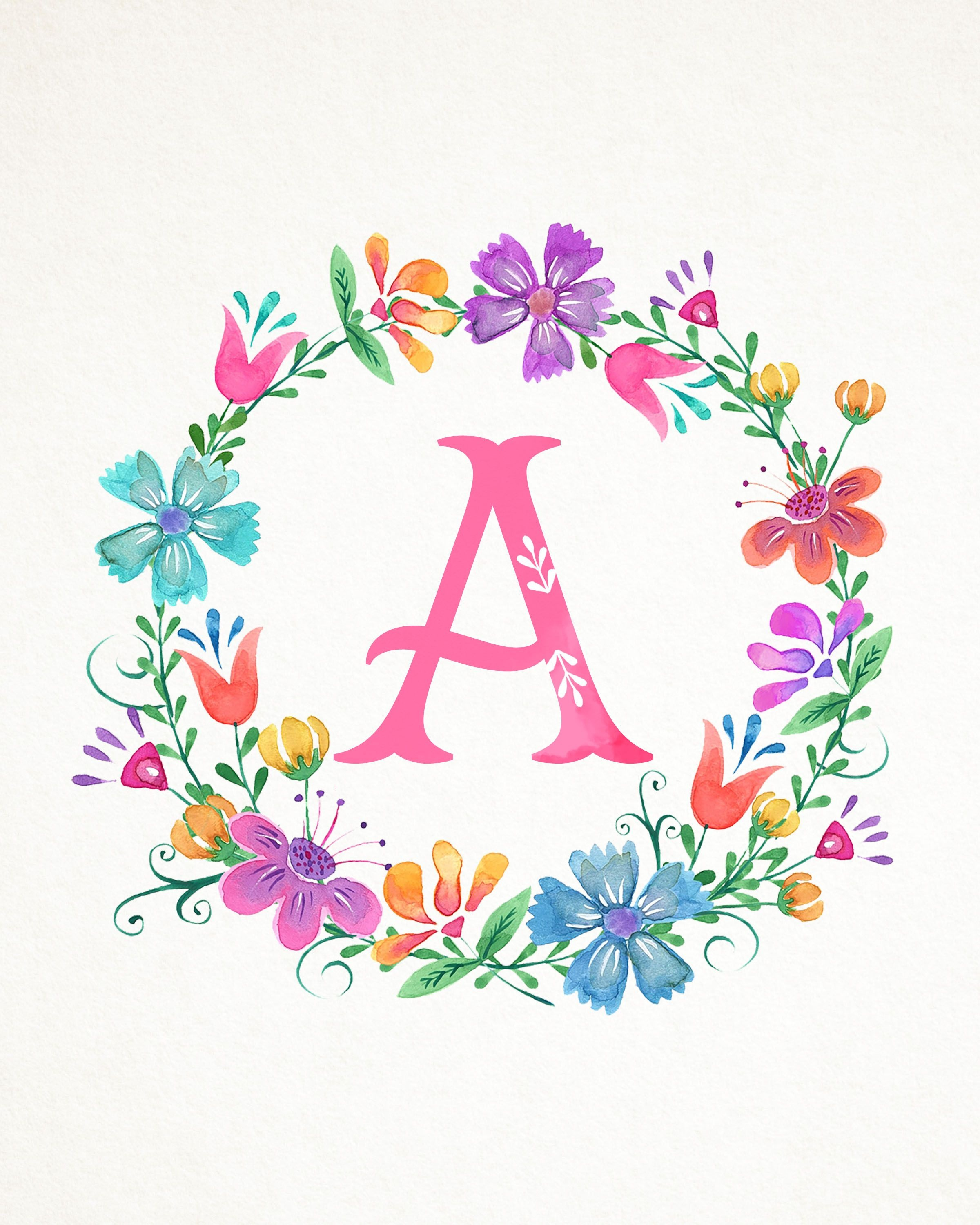 Free Printable Whimsical Watercolor Monograms | ~Monograms - Free Printable Flower Letters