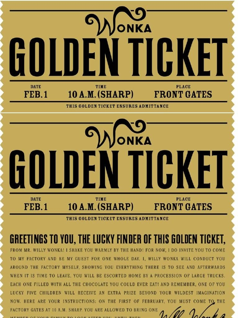 Free Printable Willy Wonka's Golden Ticket--Need To Have A Scrbd - Wonka Bar Wrapper Printable Free