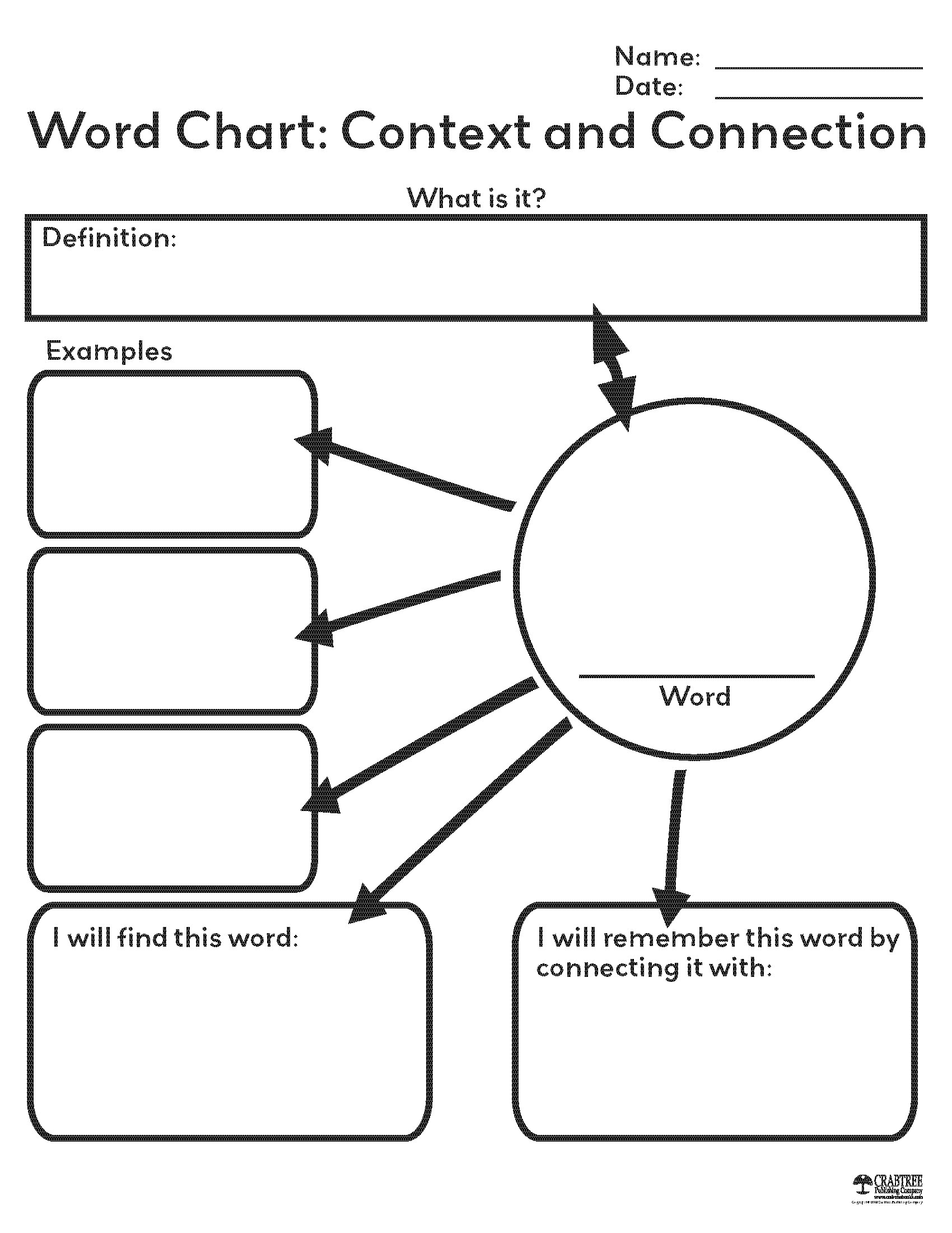 Free Printable Word Chart From Crabtree Publishing | School - Free Printable Graphic Organizers