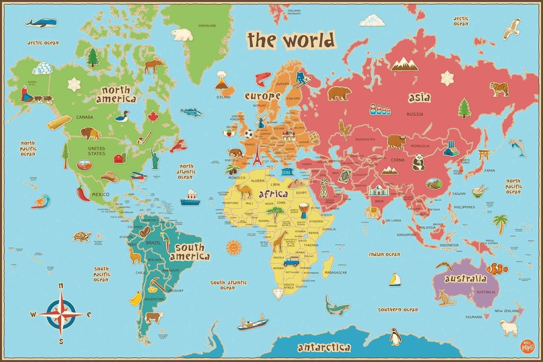 Free Printable World Map For Kids Maps And | Gary's Scattered Mind - Free Printable Maps For Kids