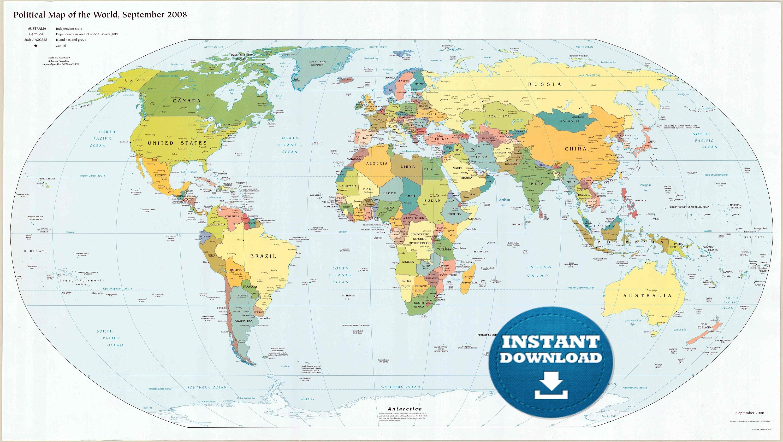 Free Printable World Map | Mir-Mitino - Free Printable World Map