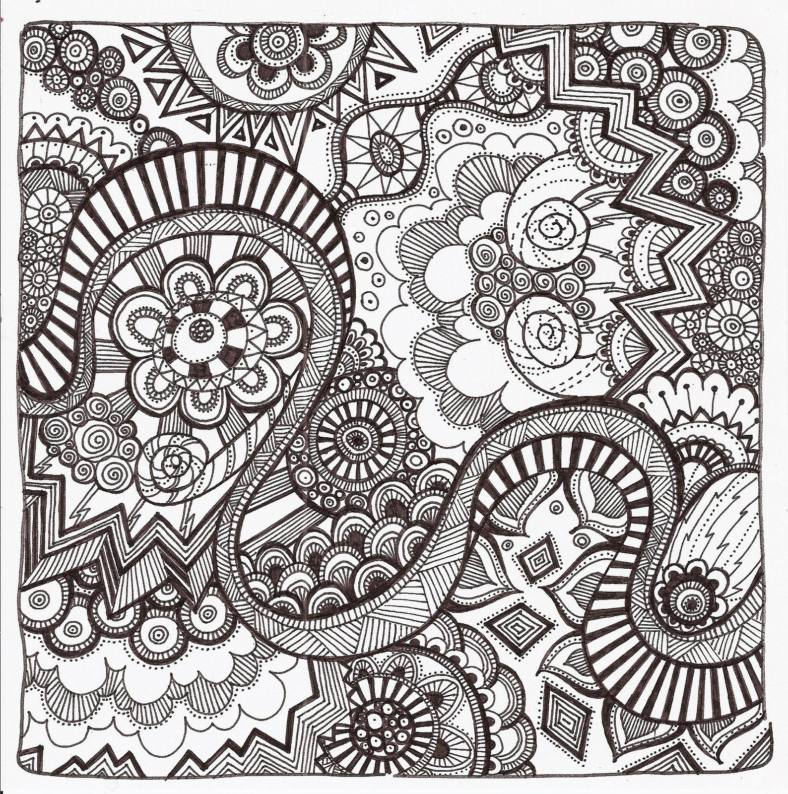 Free Printable Zentangle Coloring Pages For Adults - Free Printable Doodle Patterns