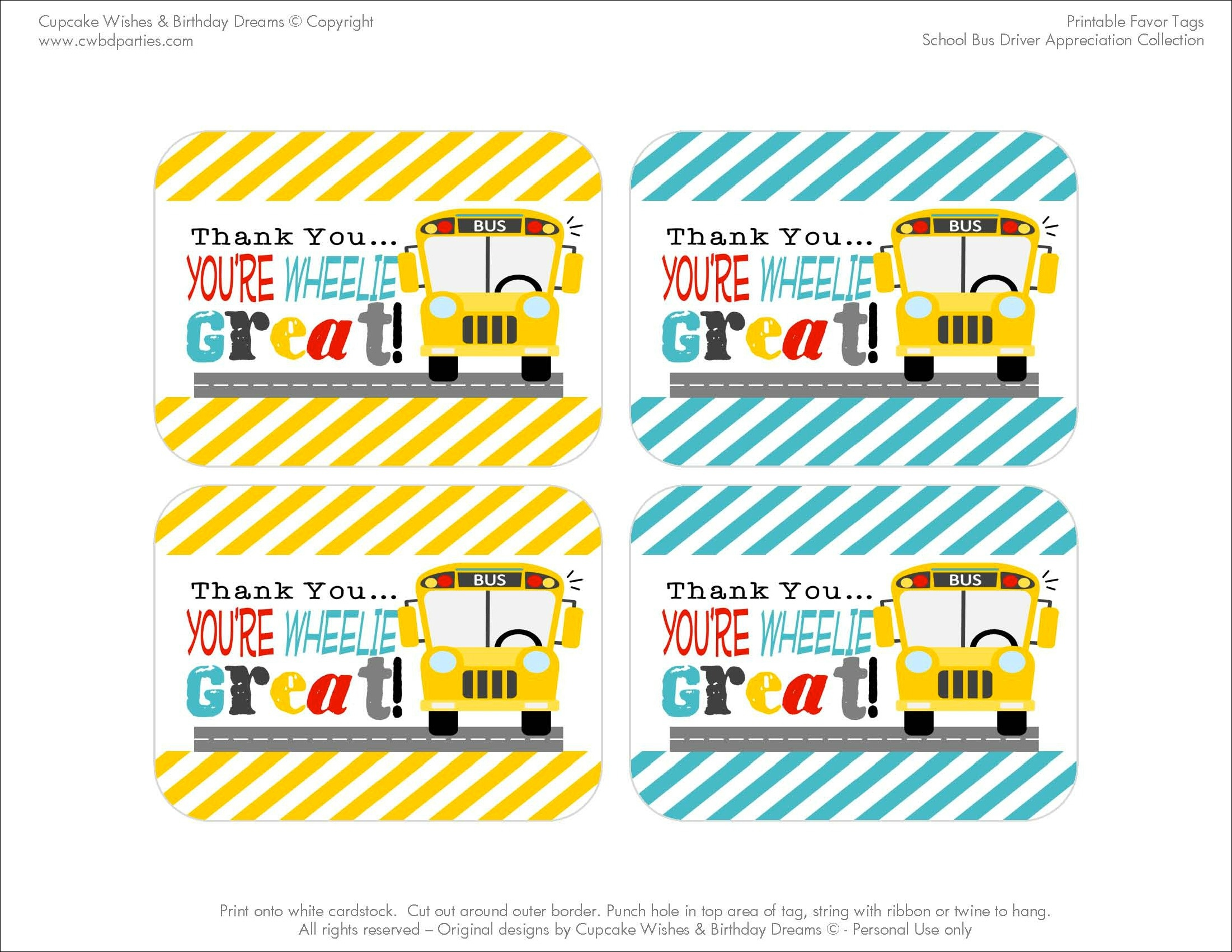 Free Printables: School Bus Driver Appreciation - Free Printable School Bus Template