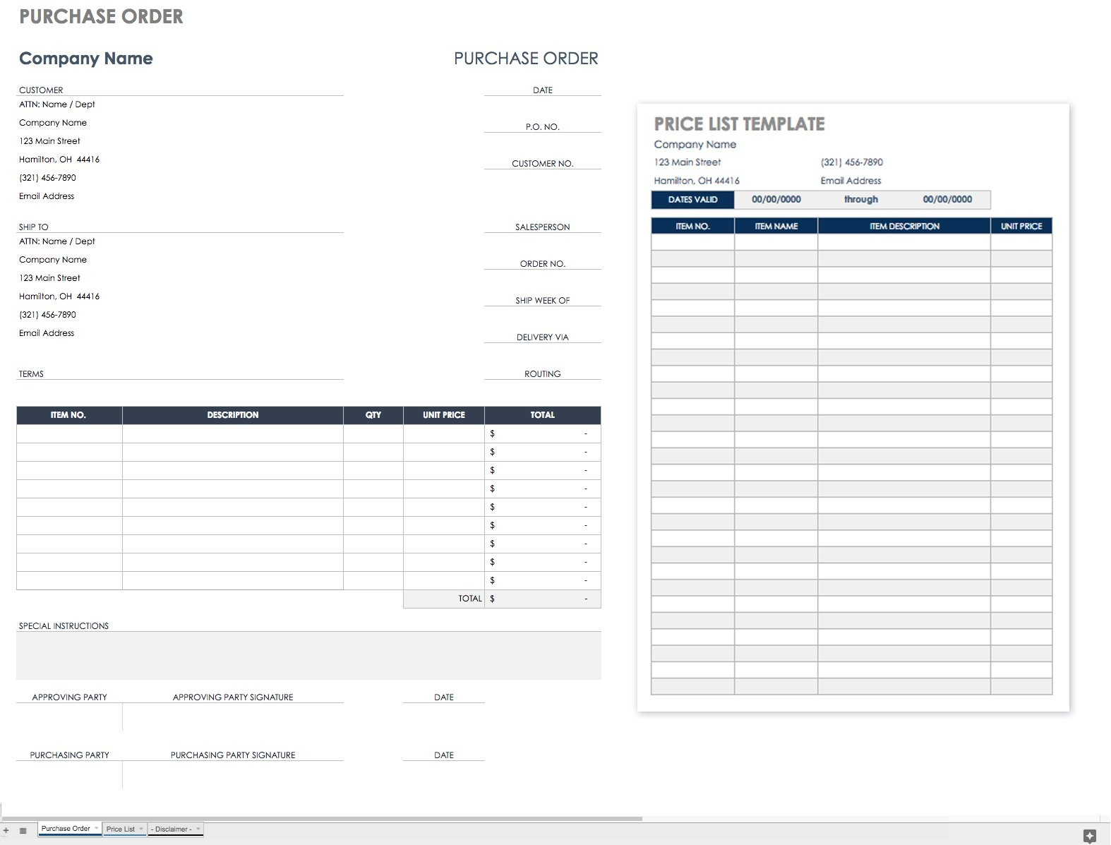 Free Purchase Order Templates | Smartsheet - Free Printable Work Order Template