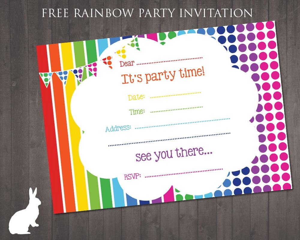 Free Rainbow Party Invitation | Free Party Invitationsruby And - Free Printable Party Invitations