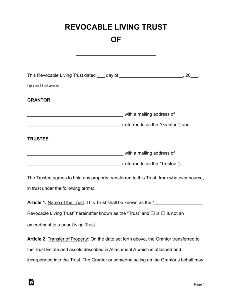 Free Revocable Living Trust Forms - Pdf | Word | Eforms – Free - Free Printable Will And Trust Forms