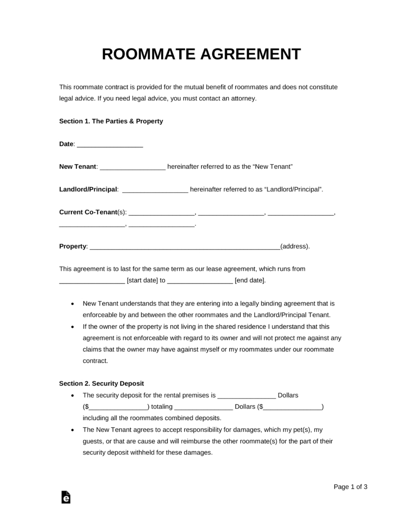 Free Roommate (Room Rental) Agreement Template - Pdf | Word | Eforms - Free Printable Roommate Rental Agreement