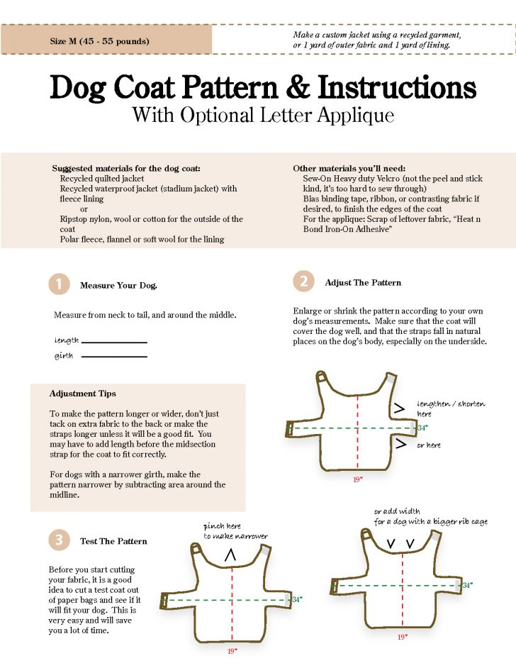 Free Printable Sewing Patterns For Dog Clothes