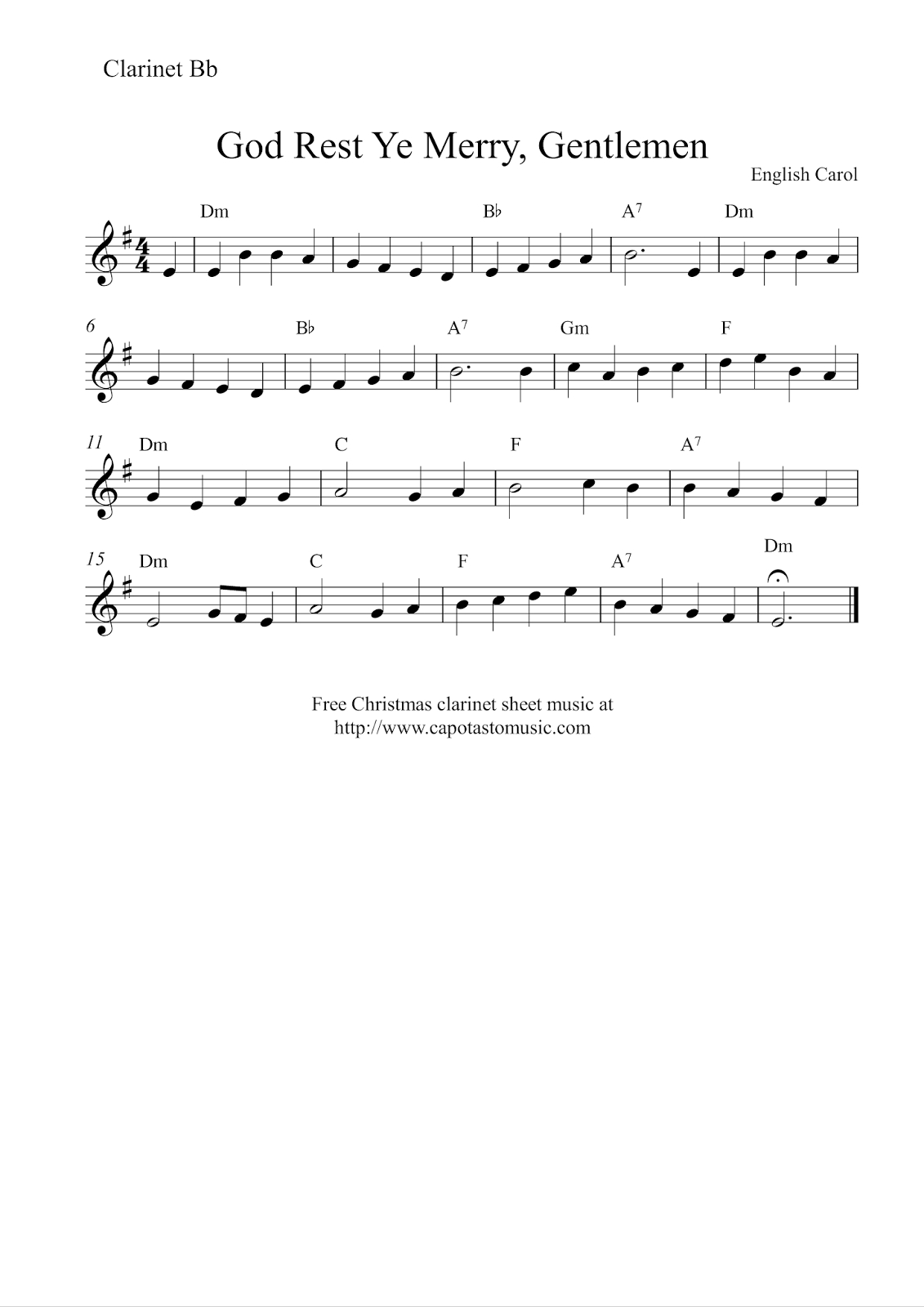 Free Sheet Music Scores: Clarinet Christmas | Christmas Music - Free Printable Christmas Sheet Music For Clarinet