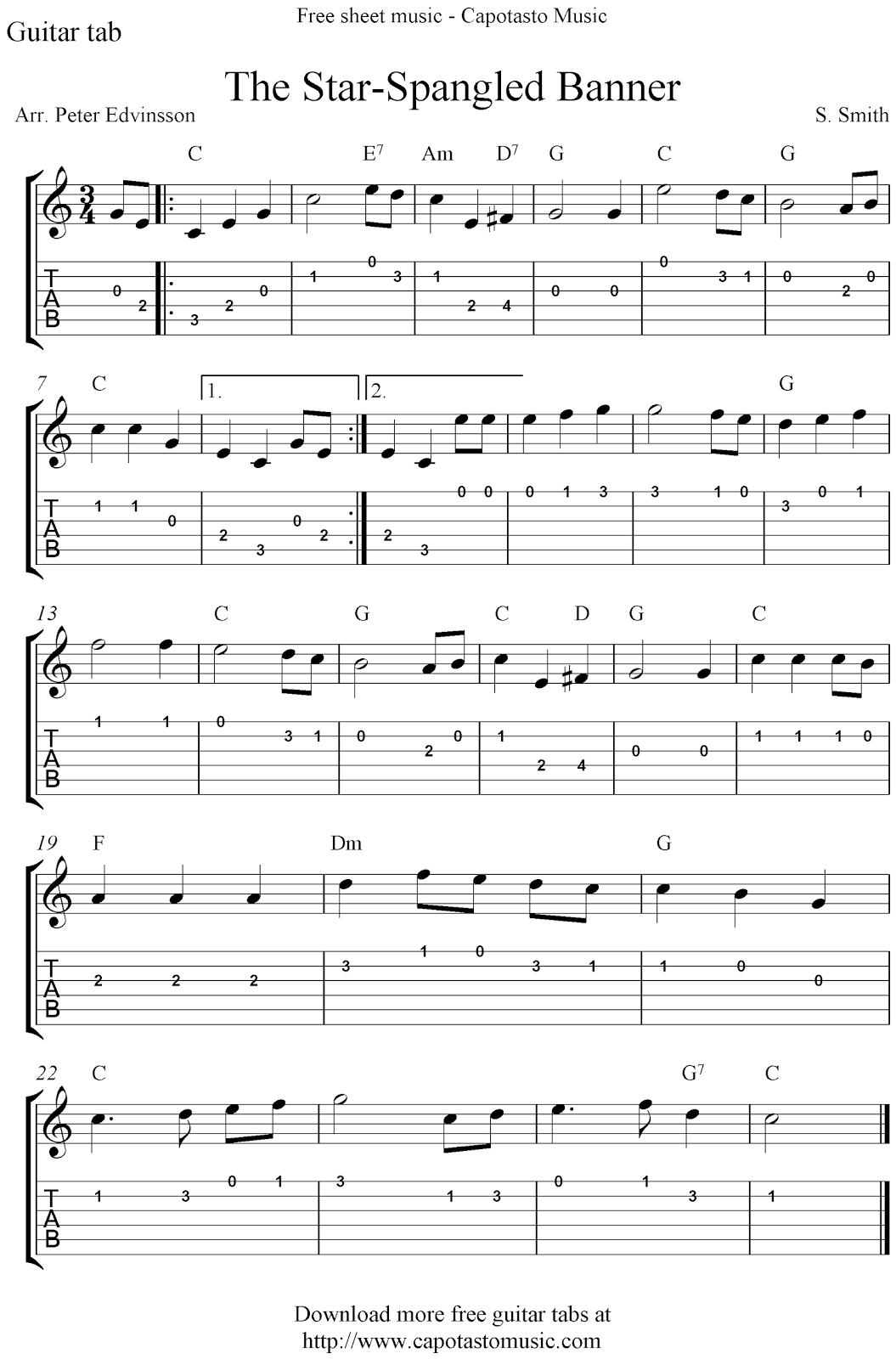 Free Sheet Music Scores: The Star-Spangled Banner, Free Guitar - Free Guitar Sheet Music For Popular Songs Printable