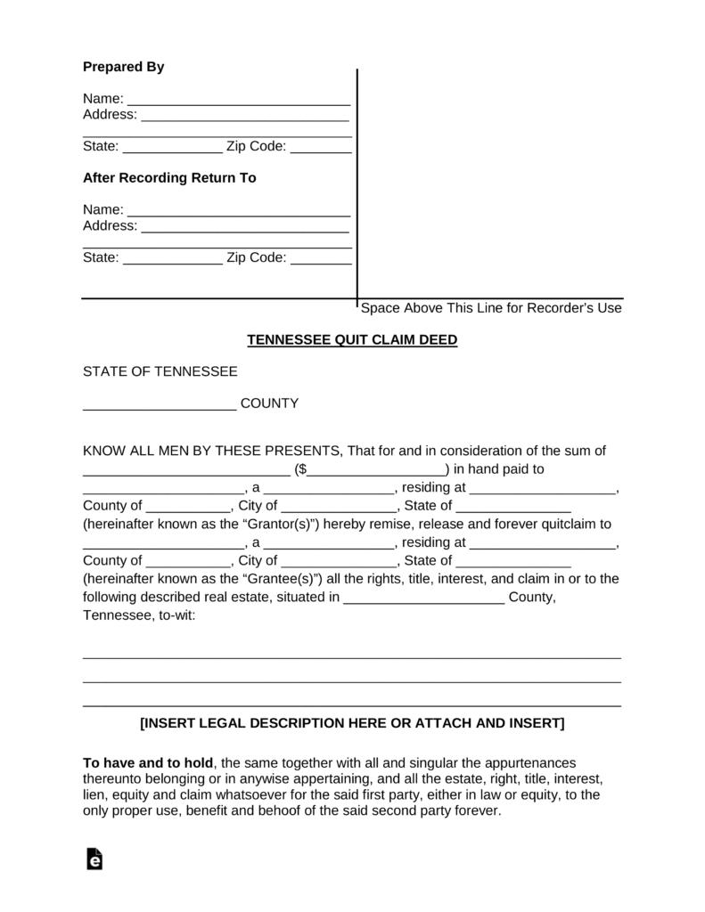 Free Tennessee Quit Claim Deed Form - Pdf | Word | Eforms – Free - Free Printable Beneficiary Deed