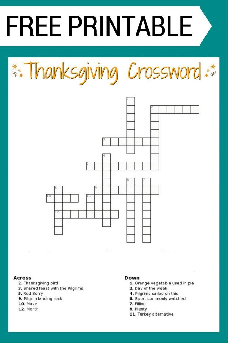Free #thanksgiving Crossword Puzzle #printable Worksheet Available - Thanksgiving Crossword Puzzles Printable Free
