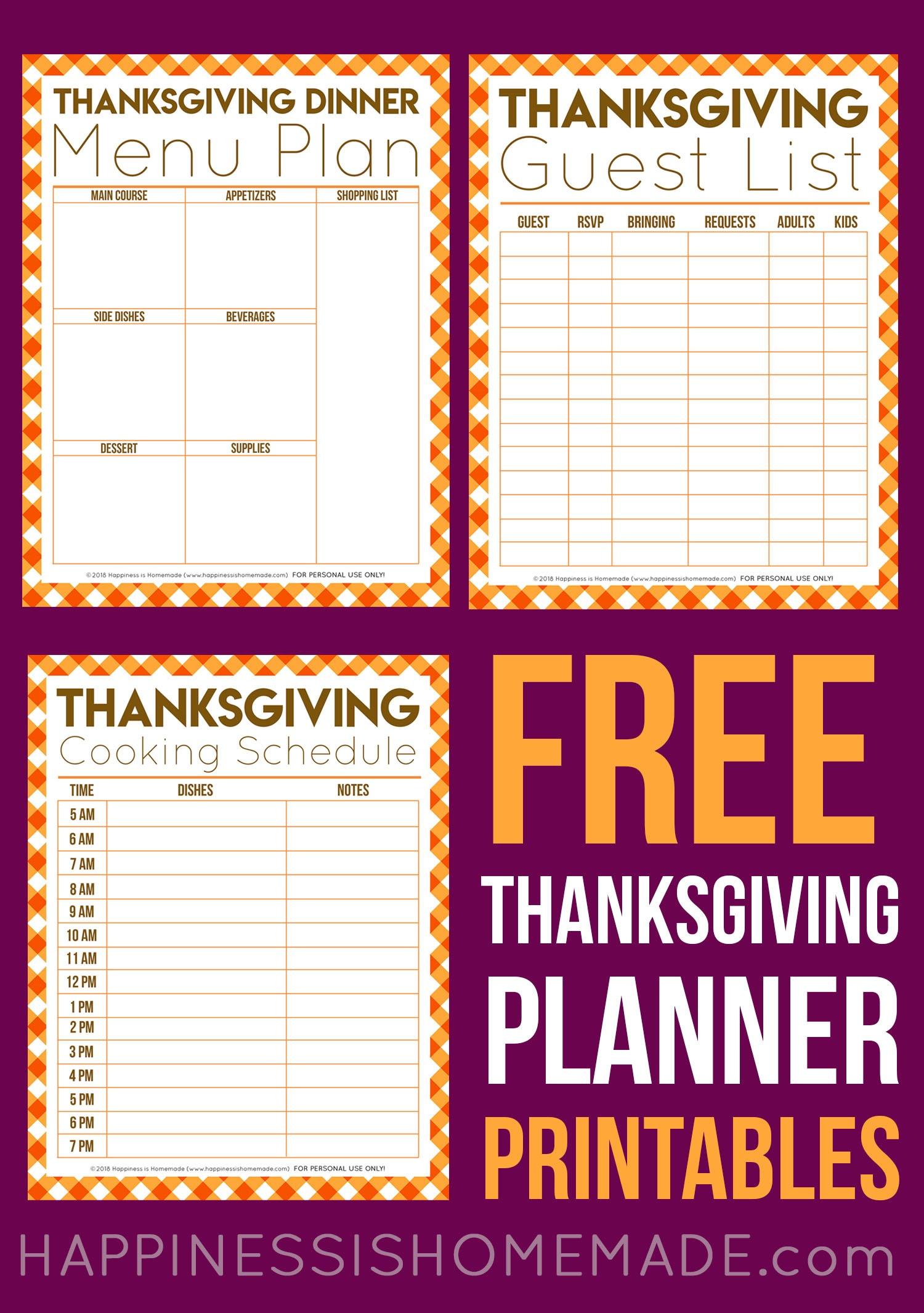 Free Thanksgiving Printables - Menu Planner, Guest List, & More - Free Printable For Thanksgiving